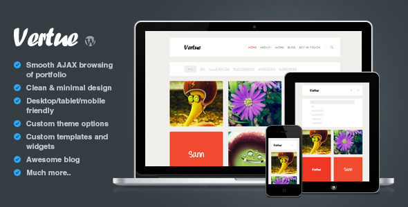 Vertue clean and minimal AJAX portfolio theme